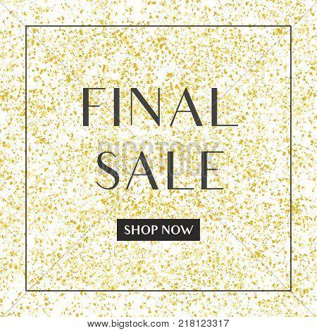 Final sale vector sign on golden background