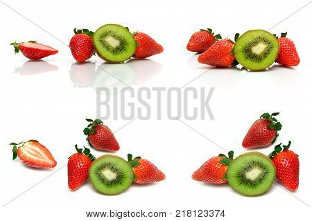 fresh strawberry and juicy kiwi on white background. horizontal photo.