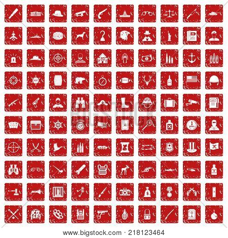 100 bullet icons set in grunge style red color isolated on white background vector illustration