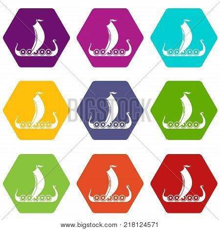 Medieval boat icon set many color hexahedron isolated on white vector illustration