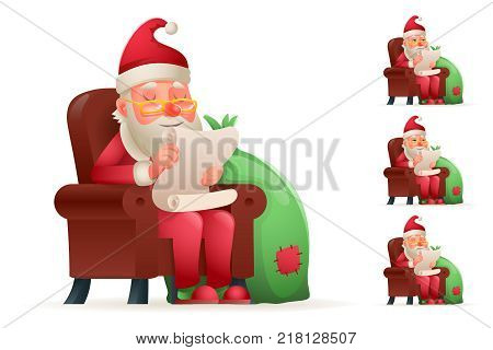 Armchair Sit Christmas Santa Claus Pleased Happy Satisfied Gift Bag Cartoon Tired Weary Sad Character Design Isolated Set Vector Illustration poster
