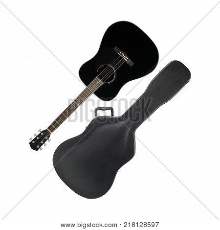Musical instrument - Acoustic guitar hard case isolated on a white background.
