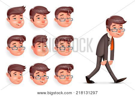 Emotions Pleased Happy Satisfied Tired Weary Fatigue Melancholy Sad Walk Businessman Cartoon Design Character Vector Illustration poster