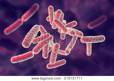 Human pathogenic bacteria on colorful background, 3D illustration