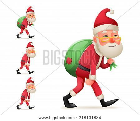 Pleased Happy Satisfied Christmas Santa Claus Heavy Gift Bag Cartoon Walk Tired Sad Character Weary Design Isolated Set Vector Illustration