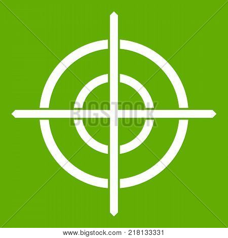 Target crosshair icon white isolated on green background. Vector illustration