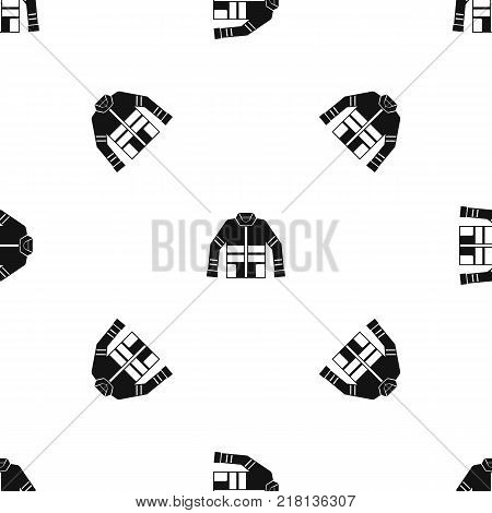 Firefighter jacket pattern repeat seamless in black color for any design. Vector geometric illustration