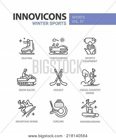 Winter sports - line design icons set. Skating, tobogganing, equipment, snow racer, hockey, cross-country and mountain skiing, curling, snowboarding. Collection of high quality images with description