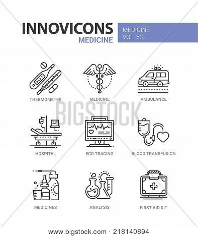 Medicine - line design icons set with description. Thermometer, ambulance, hospital, ecg tracing, blood transfusion, analysis, first aid kit. Healthcare, modern clinic concept