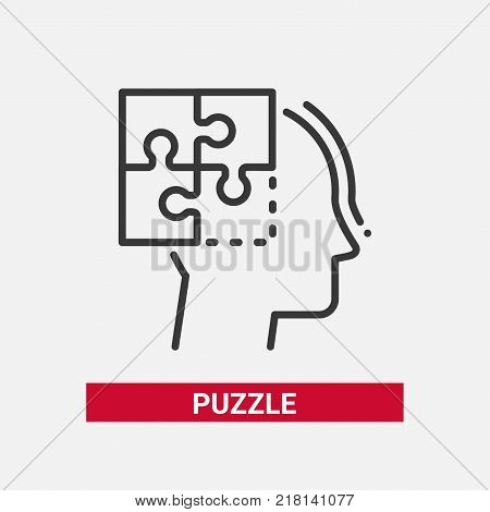 Puzzle - line design single isolated icon on white background with description. High quality black pictogram, emblem. Metaphorical image of a head silhouette. Game and problem solving concept