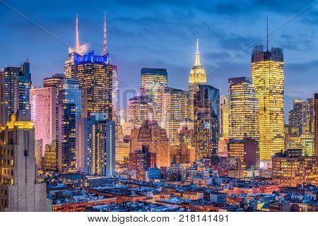 New York, New York, USA Midtown Manhattan cityscape.