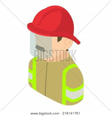 Firefighter man icon. Isometric illustration of firefighter man vector icon for web