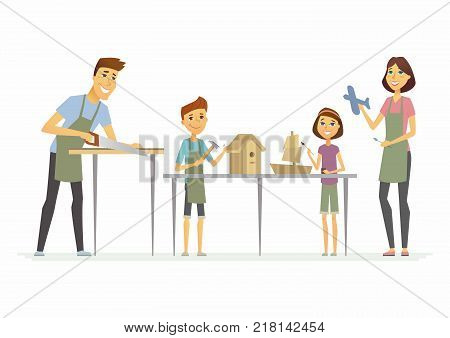 Family making handicrafts - cartoon people characters isolated illustration on white background. Happy young parents with children creating wooden birdhouse, ship and plane, working together