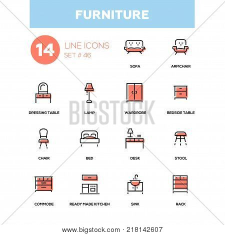 Furniture - line design icons set. Items for interior design, shop. Sofa, armchair, dressing table, lamp, wardrobe, bedside table, chair, bed, desk, stool, commode, ready made kitchen, sink, rack