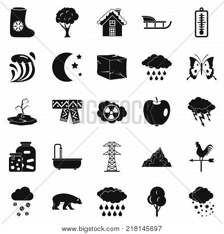 Cloudiness icons set. Simple set of 25 cloudiness vector icons for web isolated on white background
