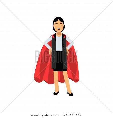 Confident business lady standing with arms akimbo in red superhero mantle. Cheerful woman character wearing formal suit. Successful office worker. Vector illustration in flat style isolated on white.
