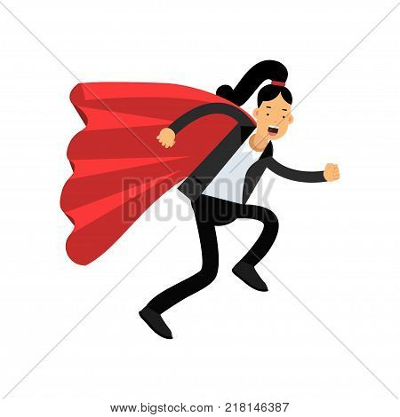 Business woman with red superhero cloak running forward to destination. Purposeful female character wearing classic pant suit. Office worker concept. Cartoon flat vector design isolated on white.
