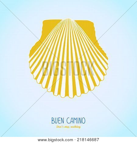 Yellow scallop shell. Symbol of the Camino Santiago in Spain. Buen Camino postcard. Dont stop walking poster or flyer. Pilgrims navigation sign.