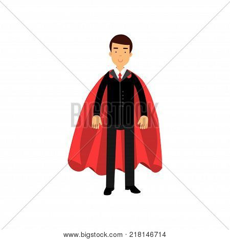 Smiling business man in classic black suit with red tie and superhero mantle. Successful office worker. Cartoon male character standing in confident pose. Isolated vector illustration in flat style.