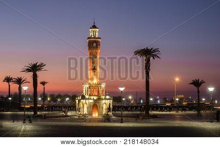 Clock tower of Izmir at sunset, Turkey