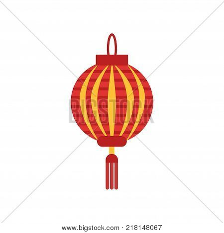 Traditional chinese paper lantern with little tassel. Lamp in round shape. Icon in red and orange colors. Isolated vector illustration flat style. Design element for logo, festival flyer or poster.
