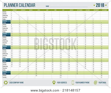 English calendar planner for year 2018. 12 months, corporate design planner template, size A4 printable calendar templates. Green military style.