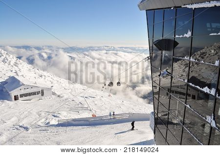 Jasna Slovakia - December 1 2017: View from the station of the cableway on the south slopes of Mount Chopok on a sunny day in the ski resort Jasna Low Tatras Slovakia.