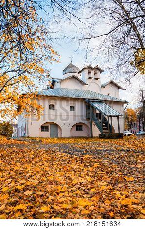 VELIKY NOVGOROD RUSSIA -OCTOBER 19 2017. Veliky Novgorod Russia. Church of the Myrrh bearers at the Yaroslav courtyard Veliky Novgorod Russia