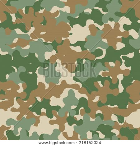 Camouflage pattern seamless background. Animal military camouflage. Abstract seamless pattern for army, hunting, fashion cloth textile. Colorful modern soldier style. Vector militaristic texture