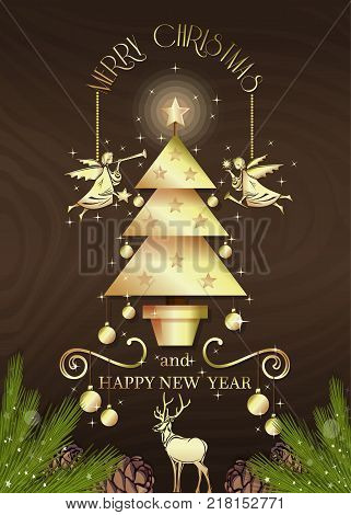 Christmas design for Christmas and New Year. Seasonal holidays background. Golden lettering Christmas angels and fir-tree on a wooden background. Vector illustration