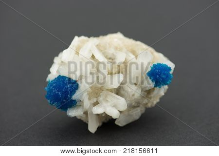 Cavansite on Stilbite mineral crystals from Poona, India