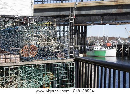 Colorful Lobster Traps Next To Rustic Shed