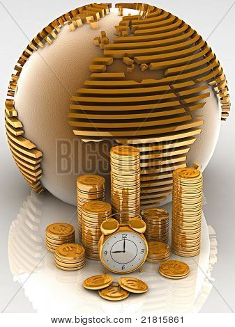 Gold globe with many gold coins and clock