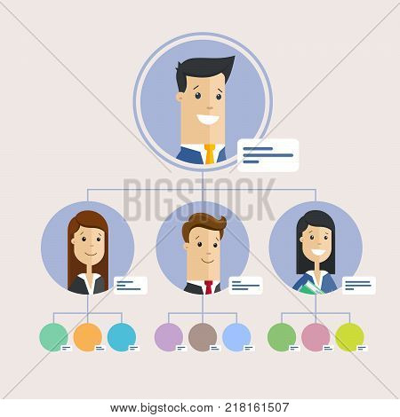 Hierarchy of company, persons. Flat illustration background