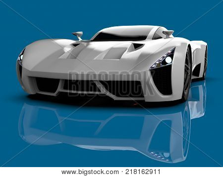 White racing concept car. Image of a car on a blue glossy background. 3d rendering