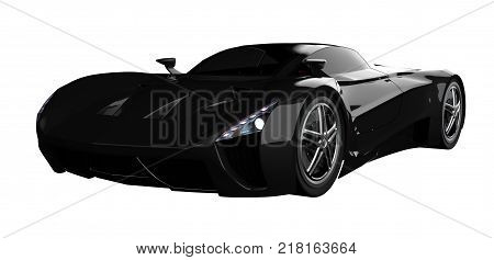 Black racing concept car. Image of a car on a white isolated background. 3d rendering