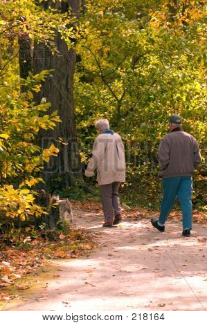 Seniors Enjoying A Walk