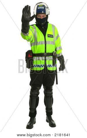 Policeman In Riot Gear - Stop