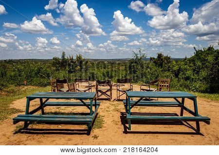 The best safari camp fire pit in the world. In the middle of the Murchison Falls national park with a beautiful distance view in the Savannah