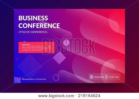 Business conference invitation concept. Modern memphis colorful abstract geometric background. Template for banner, web page development, poster, flyer, magazine page. Vector eps 10.