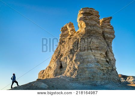 hiking rock formation at Castle Rocks in western Kansas
