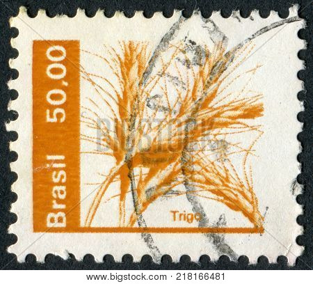 BRAZIL - CIRCA 1979: Postage stamps printed in Brazil depicted ears of wheat circa 1979