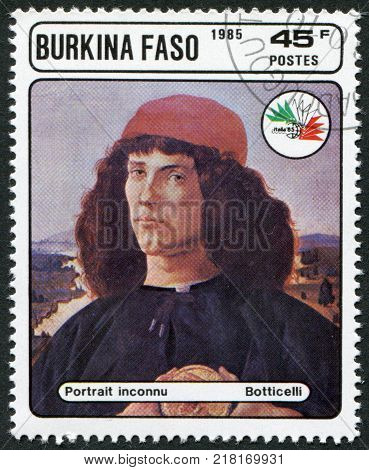 BURKINA FASO - CIRCA 1985: A stamp printed in the Burkina Faso is devoted to the International Philatelic Exhibition Italy-85 shows a picture of Botticelli