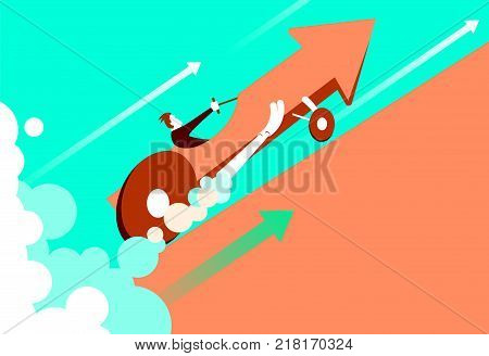 Quick start of business. The enormous speed of the car arrow. Vector illustration