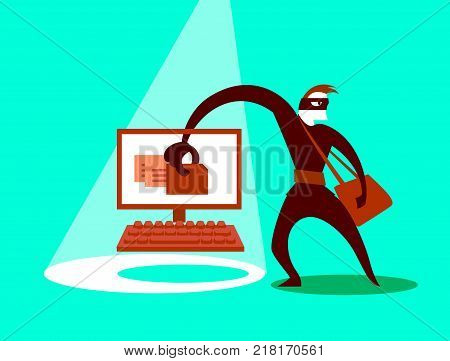 The swindler steals data. Concept illustration. Vector illustration