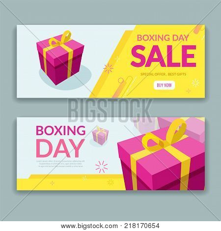 Boxing day sale design with colorful packaged gift box. Trendy promo sale flyer template