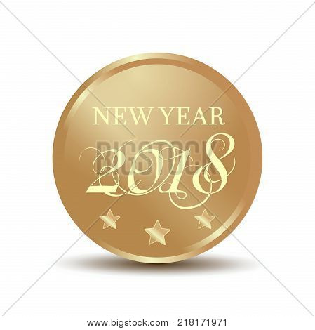 Gold coin with an inscription - New Year 2017. Vector illustration isolated on white background