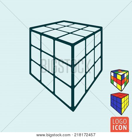 Cube toy icon. 3d combination puzzle cube. Vector illustration.