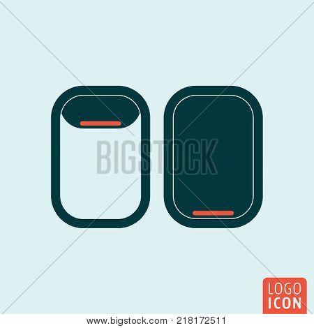 Porthole of airplane icon. Aircraft illuminator symbol. Vector illustration