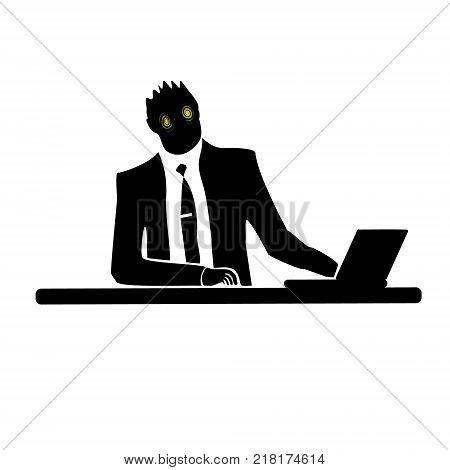 Businessman silhouette of a man. Preparing to celebrate Halloween. To wear a mask.